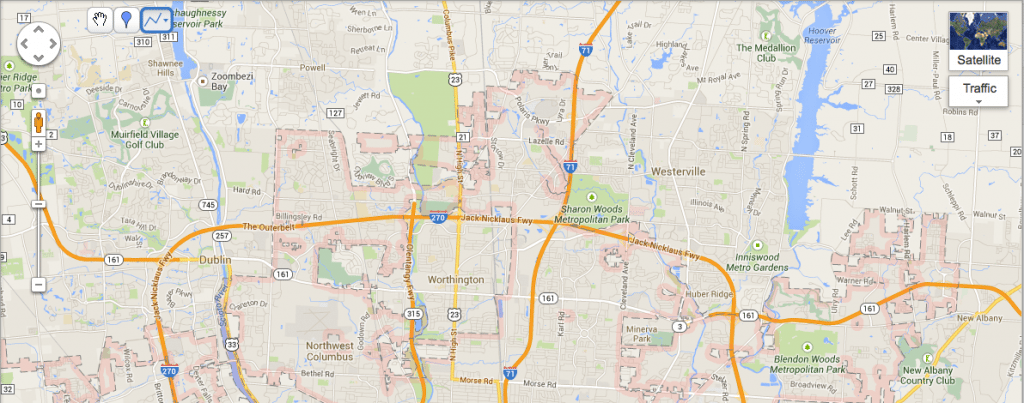 HomePro Handyman Initial Service Area - North Suburban Columbus, OH - Dublin to the West to New Albany in the East